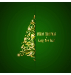 Stylized fir on a green background vector image vector image