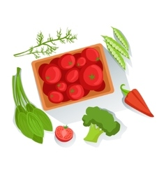 Tomatos broccoli spinach fresh organic vector