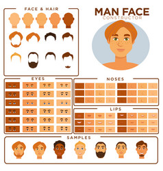 man face constructor skin haircut nose and eyes vector image vector image