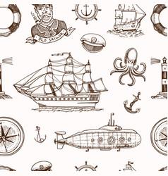 marine and nautical or sea ocean emblems vector image