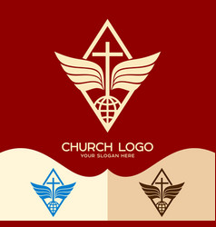 The cross of jesus the globe and wings vector