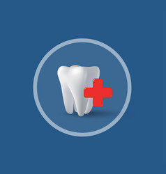 three-dimensional tooth and cross vector image