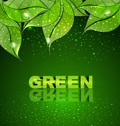 background with green leaves and drops of dew vector image