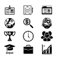 Black Silhouette Business Icons Set vector image vector image