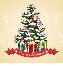 Christmas tree with balls candy gifts vector image