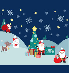 christmas winter night scene with santa claus vector image