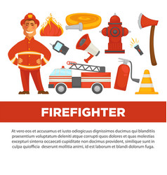 firefighter profession and fire secure protection vector image vector image