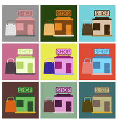 flat icons set shop package vector image