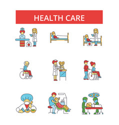 health care thin line icons linear vector image
