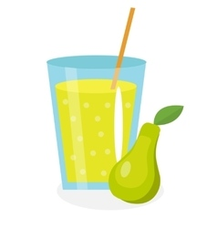 Pear juice in a glass Fresh isolated on white vector image vector image