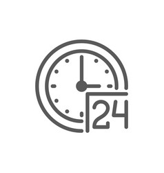24 hours service support time line icon vector