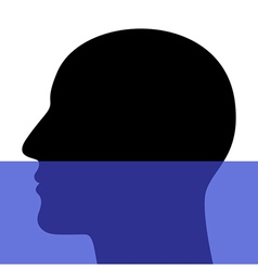 A silhouette of a head underwater vector image