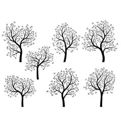 Abstract silhouettes of spring trees with leaves vector