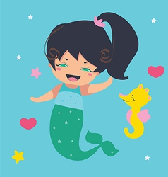 Amusing Little Mermaid and seahorse vector