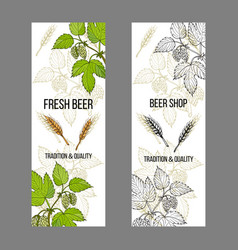 Beer and brewery labels design elements with hops vector