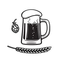 beer mug hop cone and barley or wheat ear black vector image