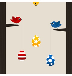 birds hold easter eggs vector image