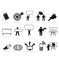 black marketing icons set vector image