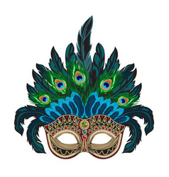 blue ornate venetian carnival mask with vector image