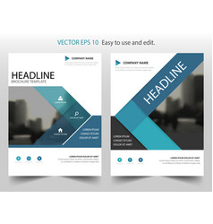 Blue triangle annual report leaflet brochure vector