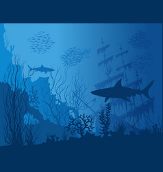 Blue underwater landscape vector