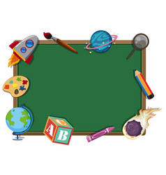 border template with school items vector image