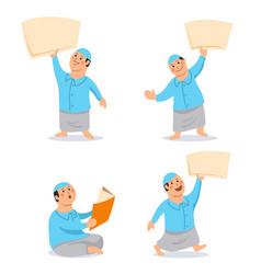 boy moslem kids character bring blank paper set vector image