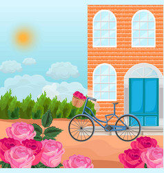 brick house in a province background vector image