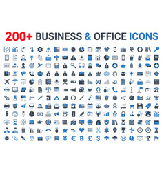 business office finance icons set blue black vector image