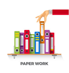 business papers and folders concept in flat style vector image