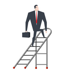 Businessman on stepladder boss on sliding vector
