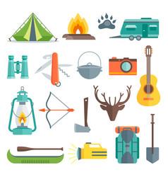 Camping decorative flat icons set vector