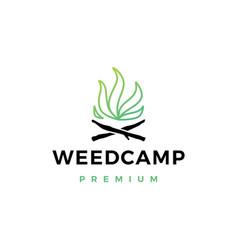 cannabis weed camp logo icon vector image