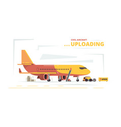 Cargo plane upload civil aircraft technical cars vector