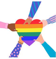 cartoon flat hands holding heart with rainbow vector image