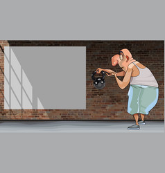 cartoon funny man shows a kettlebell and looks at vector image