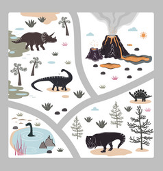 Cartoon kids road playmat with dinosaur palm and vector