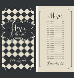 Checkered menu for restaurant with price and crown vector