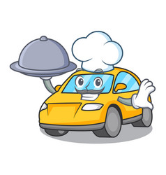 Chef with food taxi character mascot style vector