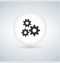 circle bubble button with three gears icon vector image