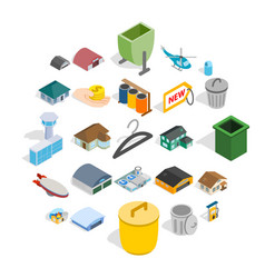 city infrastructure icons set isometric style vector image