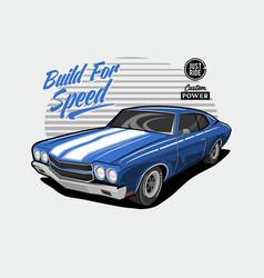 Classic car - blue - build for speed vector
