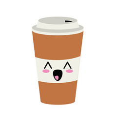 Coffee to go cute kawaii cartoon vector