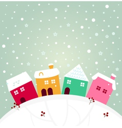 Colorful winter village on top hill vector