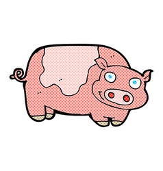 comic cartoon pig vector image
