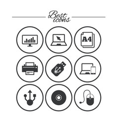 computer devices icons printer laptop signs vector image vector image