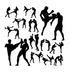couple thai boxing martial art silhouettes vector image