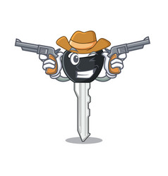 Cowboy car keys cartoon isolatedon on shape vector