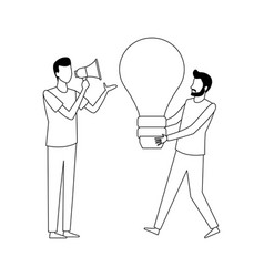 coworkers teamwork cartoon in black and vector image