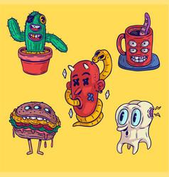 Creatures stickers set vector